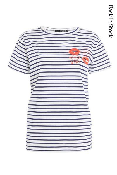 White Cotton Stripe T Shirt